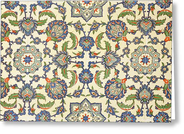 Wall Tiles Of Qasr Rodouan Greeting Card by Emile Prisse d'Avennes