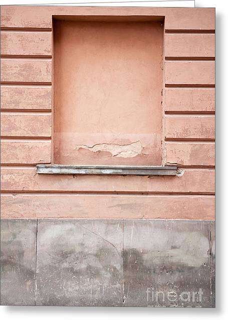 wall up blank false window in Old Town Warsaw Greeting Card