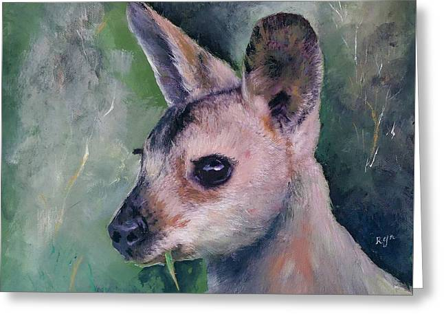 Wallaby Grazing Greeting Card
