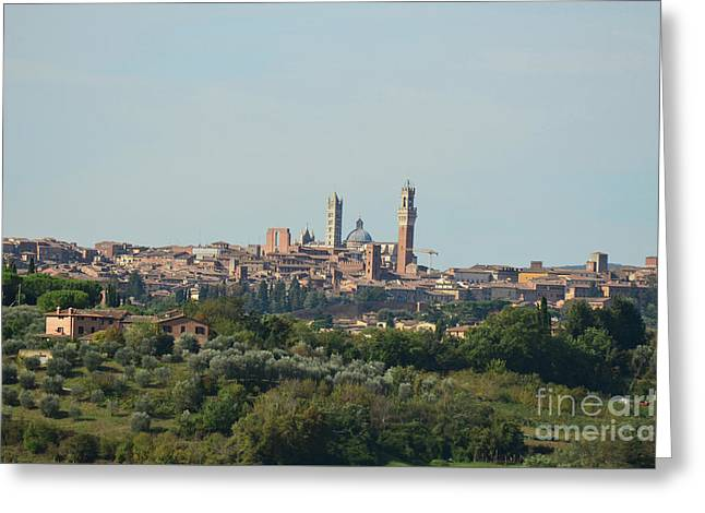 Walled City Of Siena In Italy Greeting Card by DejaVu Designs