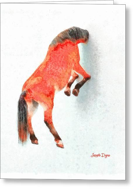 Walled Red Horse - Da Greeting Card by Leonardo Digenio