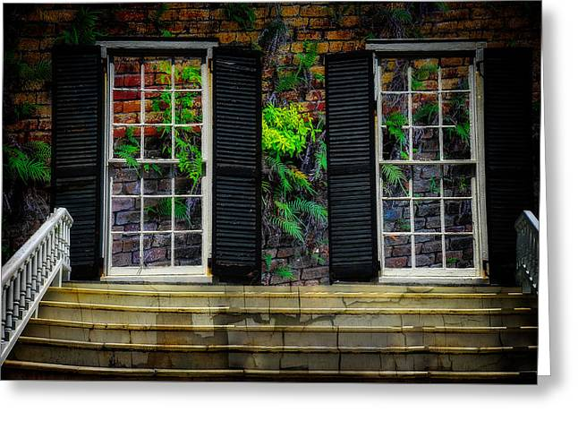 Greeting Card featuring the photograph Walled Up Windows by Harry Spitz
