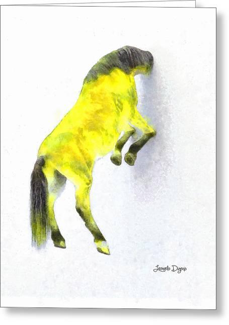 Walled Yellow Horse - Da Greeting Card by Leonardo Digenio