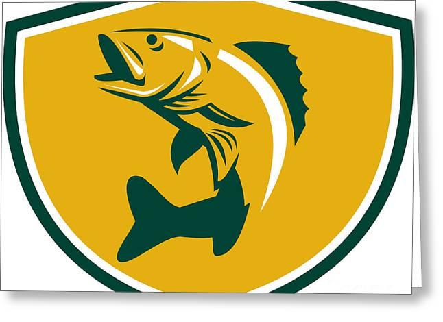 Walleye Fish Jumping Crest Retro Greeting Card by Aloysius Patrimonio