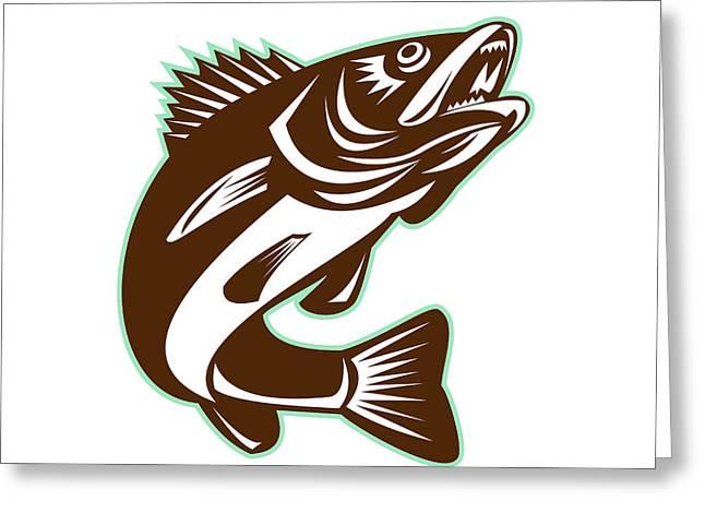 Walleye Fish Jumping Isolated Retro Greeting Card by Aloysius Patrimonio