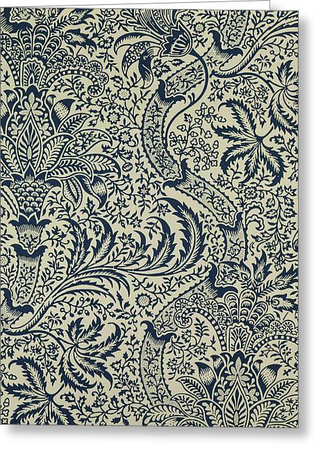 Wallpaper With Navy Blue Seaweed Style Design Greeting Card