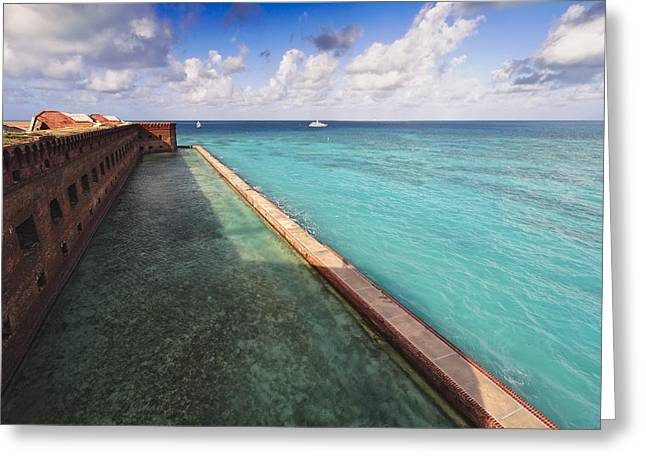 Walls And Moat Of  Fort Jefferson Greeting Card by George Oze