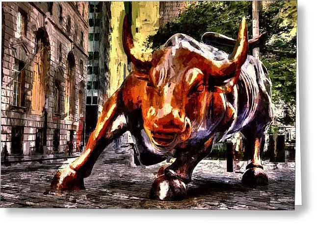 Wallstreet Bull Greeting Card by John K Woodruff