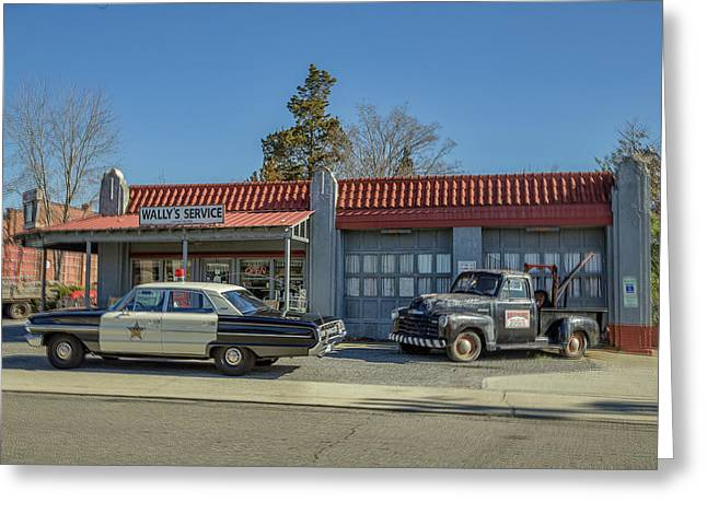 Wally's Service Station Greeting Card by Cindi Poole