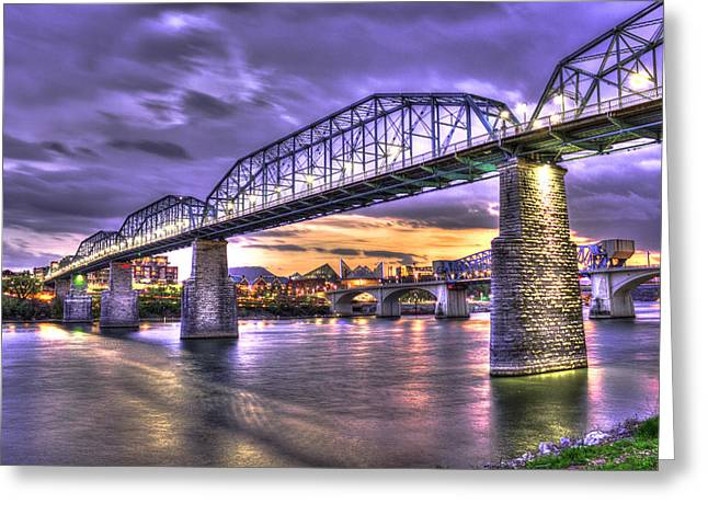 Walnut Street Pedestrian Bridge 2 Chattanooga Tennessee Greeting Card by Reid Callaway