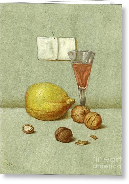 Walnuts And Lemon Greeting Card