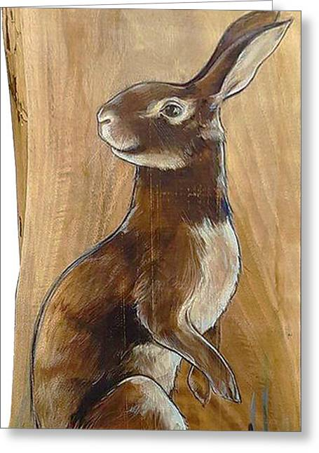 Walnutty Bunny Greeting Card by Jacque Hudson