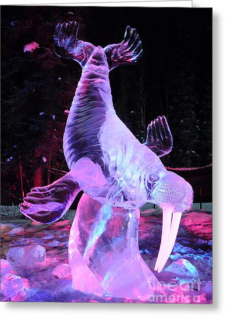 Walrus Ice Art Sculpture - Alaska Greeting Card by Gary Whitton