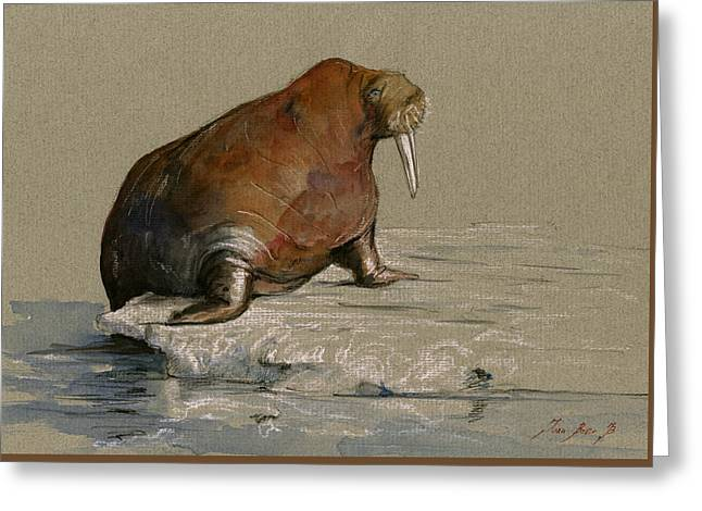 Walrus On Ice Greeting Card