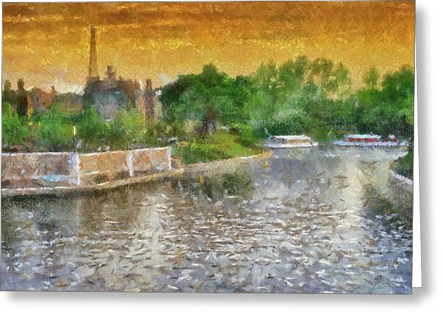 Walt Disney World Epcot Boat Ride At Sunset Pa 02 Greeting Card