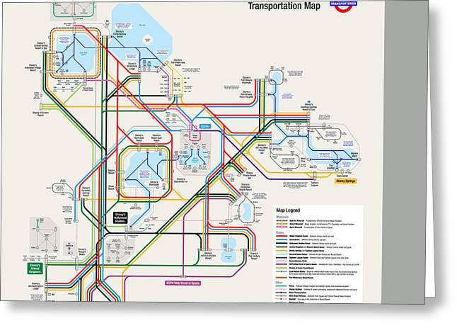 Walt Disney World Resort Transportation Map Greeting Card