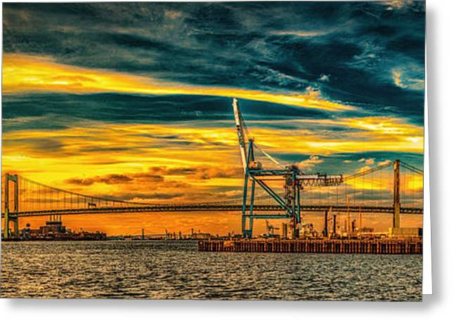 Walt Whitman Bridge Sunset Greeting Card by Nick Zelinsky