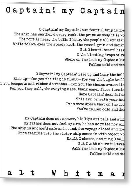 Walt Whitman - O Captain, My Captain - White Greeting Card