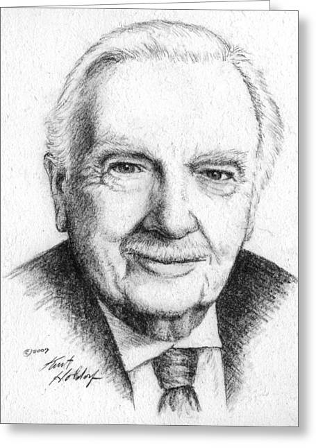 Walter Cronkite Greeting Card by Kurt Holdorf