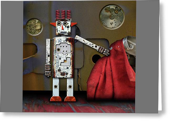 Walter Has A Surprise Greeting Card by Joan Ladendorf