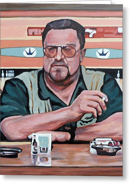 Greeting Card featuring the painting Walter Sobchak by Tom Roderick