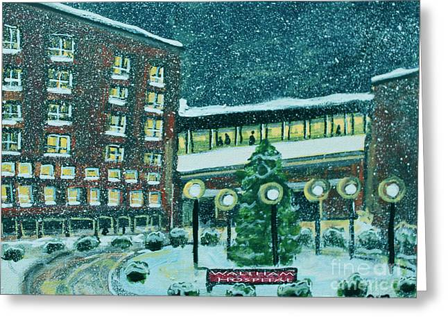 Waltham Hospital On Hope Ave Greeting Card by Rita Brown