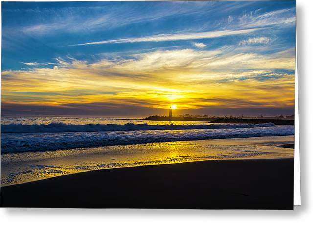 Walton Lighthouse Setting Sun Greeting Card
