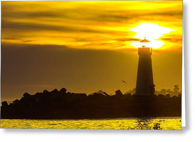 Walton Lighthouse Sun And Fog Greeting Card