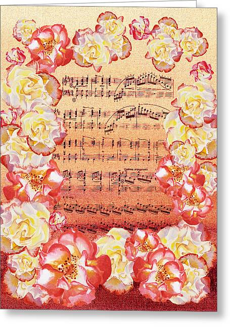 Waltz Of The Flowers Dancing Roses Greeting Card