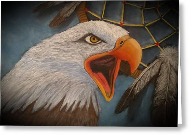 Wambli Wakan Sacred Eagle Greeting Card by Susan Fox