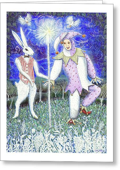 Greeting Card featuring the painting Wand With Magician And Jester by Lise Winne