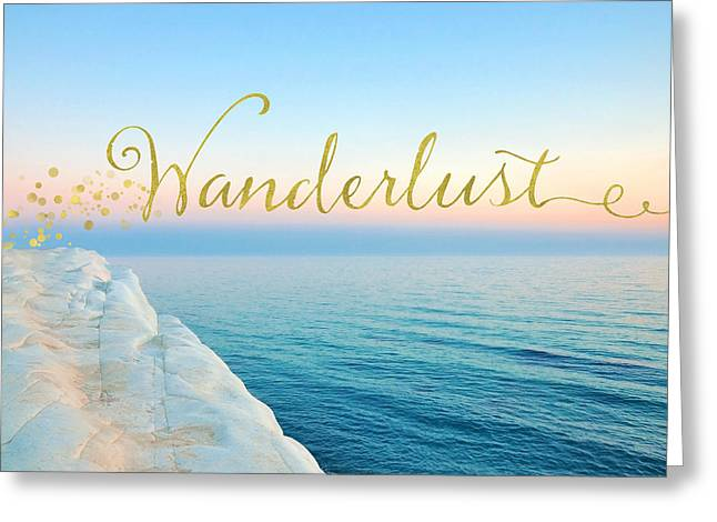 Wanderlust, Santorini Greece Ocean Coastal Sentiment Art Greeting Card by Tina Lavoie