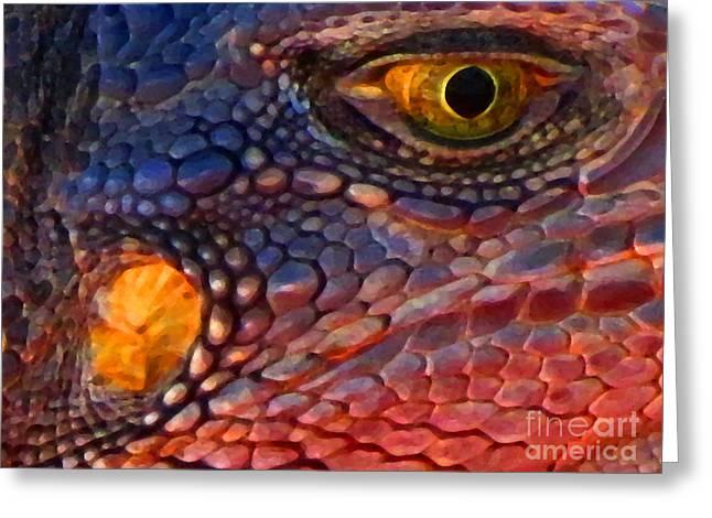 Wanna Iguana Greeting Card by Ron Tackett