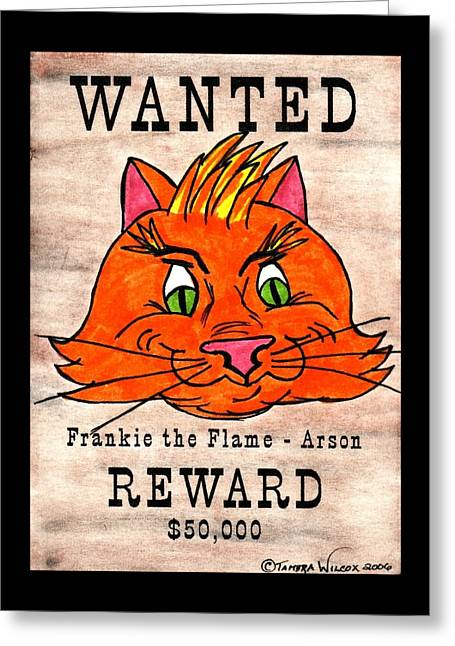 Wanted Cat - Frankie The Flame Greeting Card by Tambra Wilcox