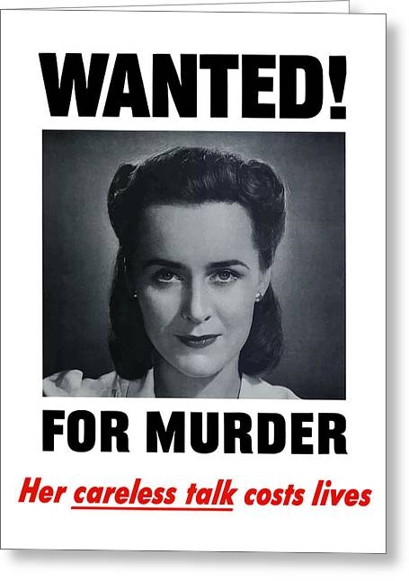Housewife Wanted For Murder - Ww2 Greeting Card