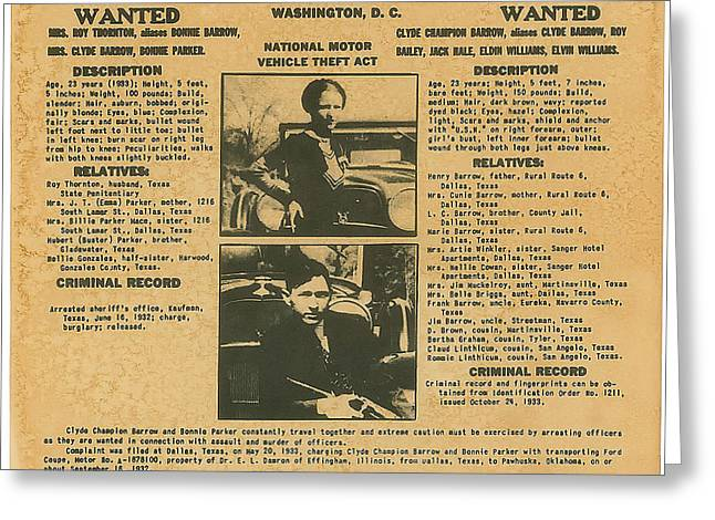 Wanted Poster - Bonnie And Clyde 1934 Greeting Card by F B I