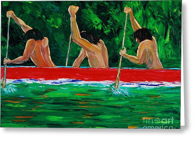 war canoe races 1977 Nooksack tribe Wa  Greeting Card by George Chacon