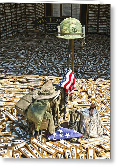 Dog Handler Greeting Cards - War Dogs Sacrifice Greeting Card by Carolyn Marshall