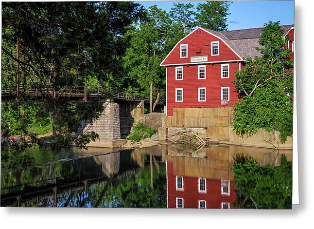 War Eagle Mill Perfect Reflection - Northwest Arkansas Greeting Card by Gregory Ballos