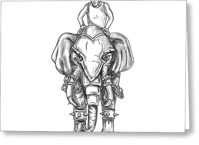 War Elephant Mahout Rider Tattoo Greeting Card by Aloysius Patrimonio