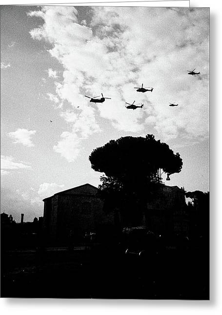 War Helicopters Over The Imperial Fora Greeting Card