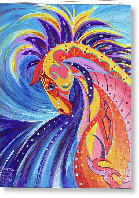 Greeting Card featuring the painting War Horse by Nancy Cupp