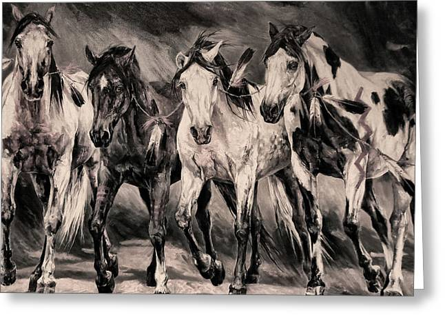 War Horses Greeting Card