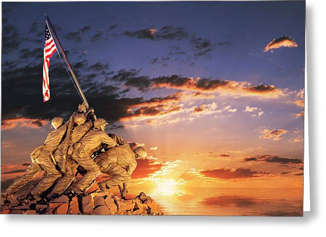 War Memorial At Sunrise, Iwo Jima Greeting Card