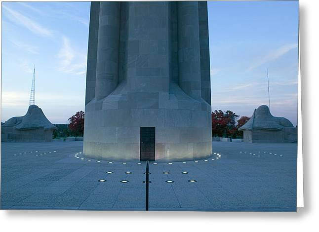 War Memorial Lit Up A Dawn, Liberty Greeting Card by Panoramic Images
