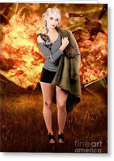 War Pilot Pin-up Woman Walking From Plane Crash Greeting Card by Jorgo Photography - Wall Art Gallery