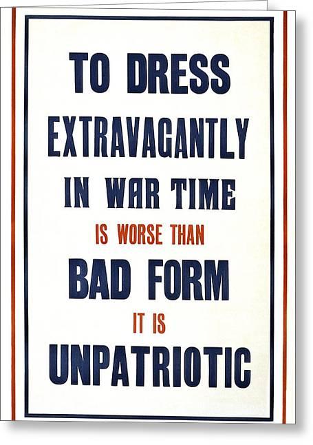 War Time Dress  1915 Greeting Card by Daniel Hagerman