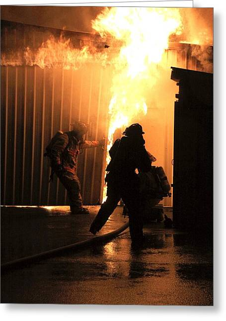 Warehouse Fire Greeting Card by Cary Ulrich
