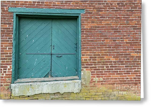 Warehouse Loading Door And Brick Wall Greeting Card