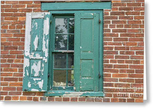 Warehouse Window With Shutter Greeting Card